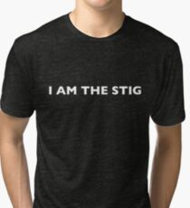 I AM THE STIG - English White Writing Tri-blend T-Shirt
