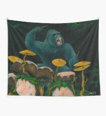 Gorilla Jungle Drums Wall Tapestry