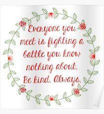Skam Be Kind Always Noora Quote Poster