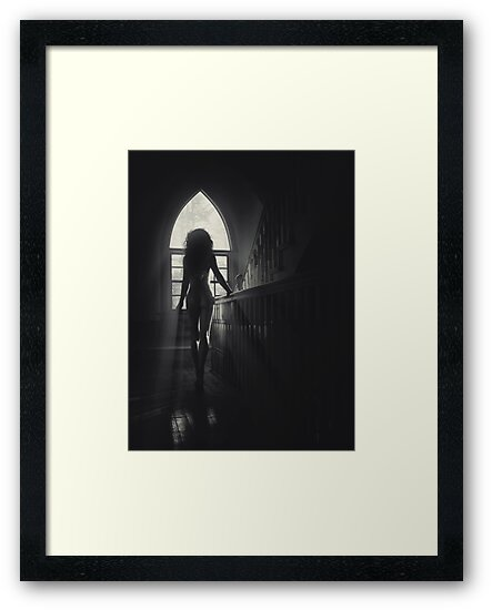 Back of beautiful naked woman on staircase in sunlight art photo print by AwenArtPrints