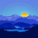 Blue Flat Landscape Mountains by SaxonTaylor