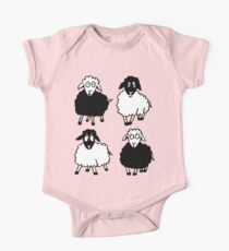 New Zealand four cartoon sheeps having a chat One Piece - Short Sleeve