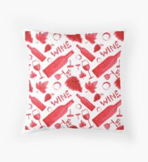 Wine pattern Throw Pillow