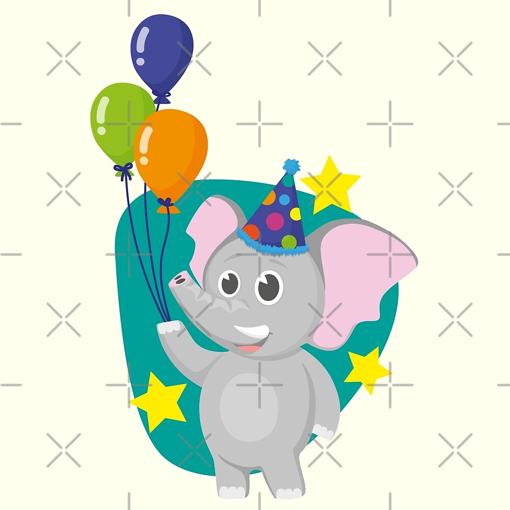 Cute party elephant with balloons cartoon  by pixxart