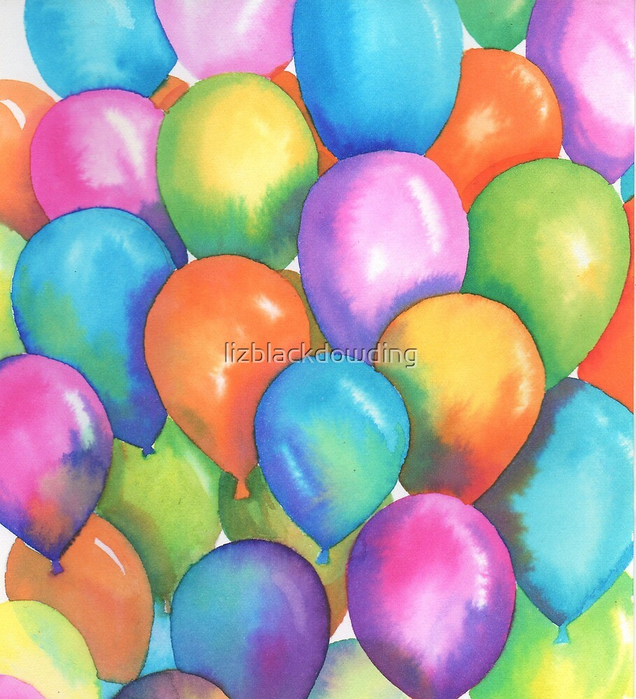 Watercolor Birthday Balloons by lizblackdowding