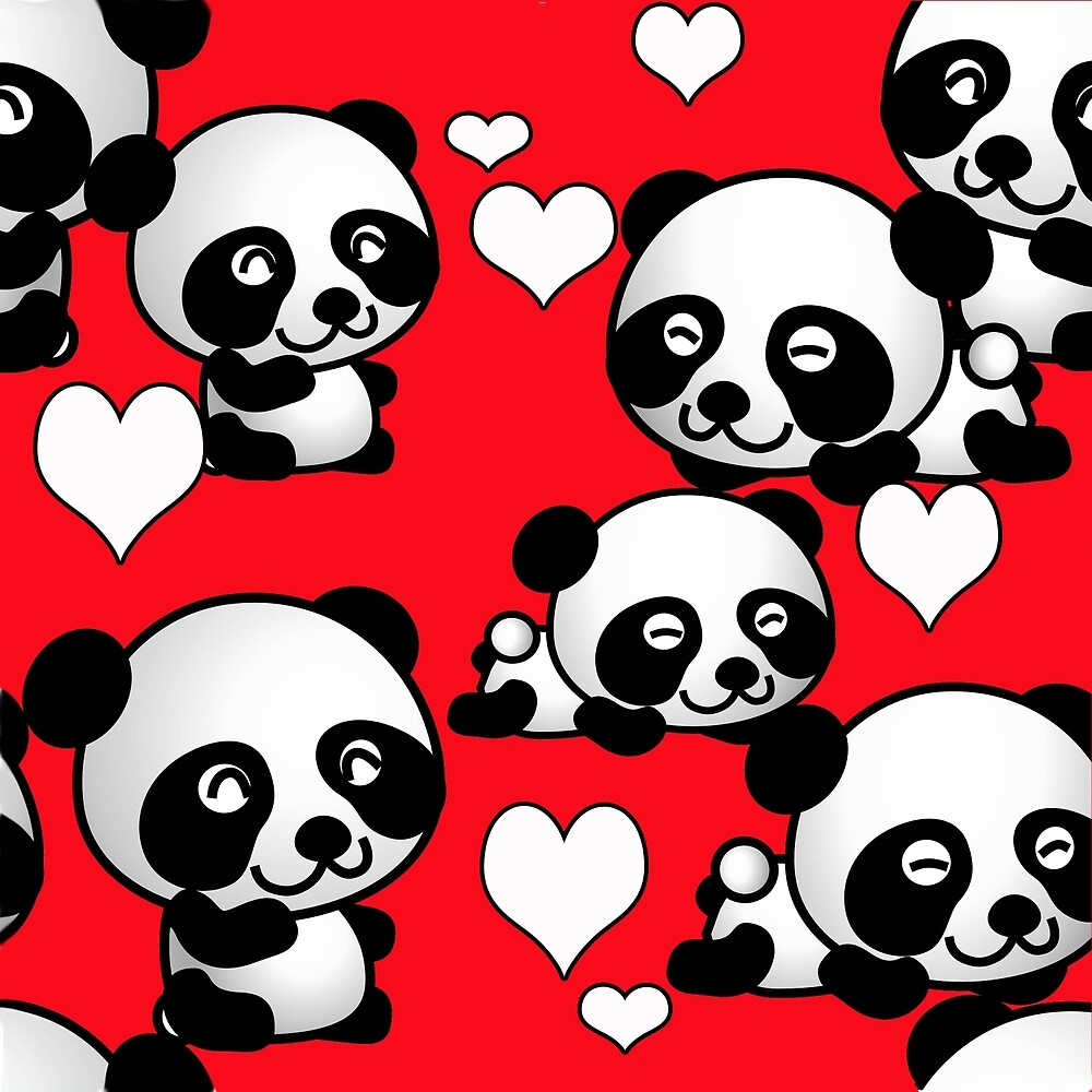 Pandas and Hearts by IowaArtist