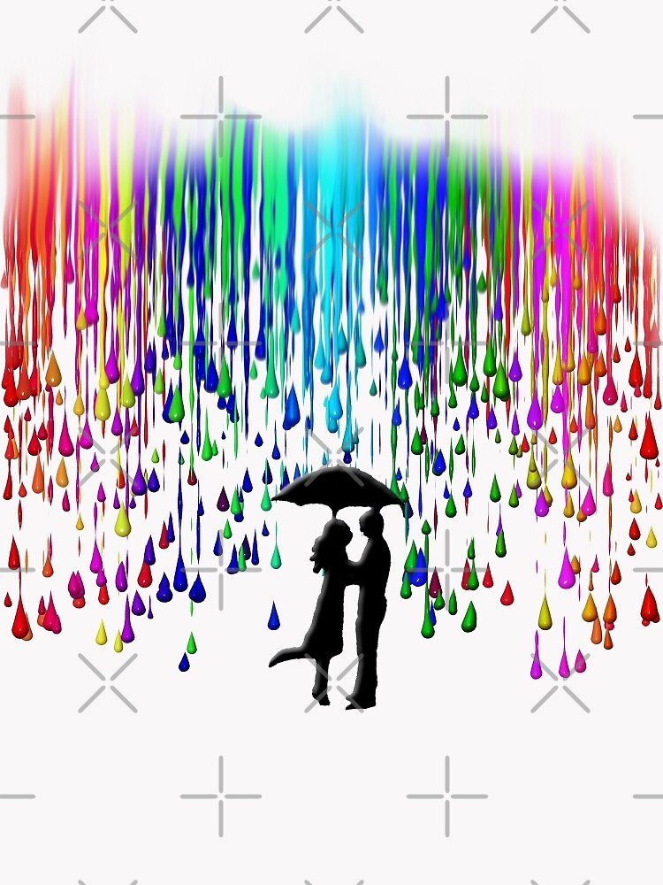 Kissing in the rain by American  Artist