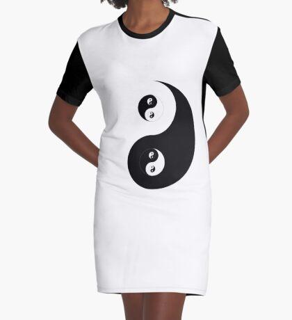 Ying Yang Sticker Graphic T-Shirt Dress