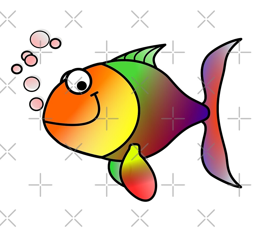 Colorful happy fish cartoon by pixxart