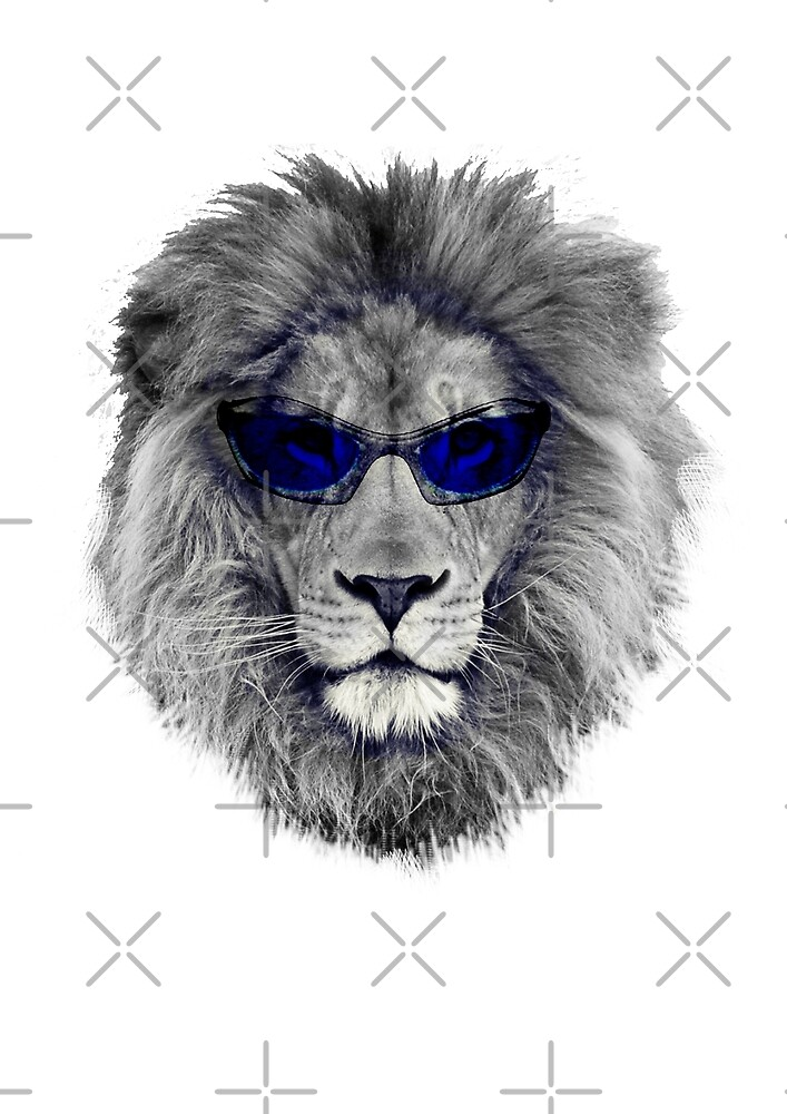 Cool Lion with Blue Glasses by Natasha Constantinou @ Crazydodo by crazydodo