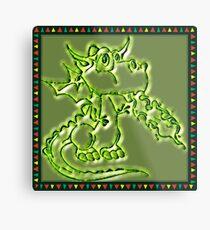 Festive Draco the dragon in green Metal Print