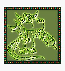 Festive Draco the dragon in green Photographic Print