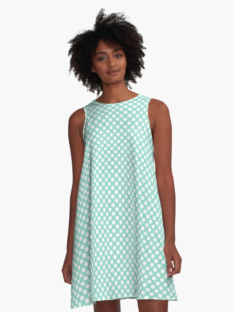 Beach Glass and White Polka Dots A-Line Dress Front