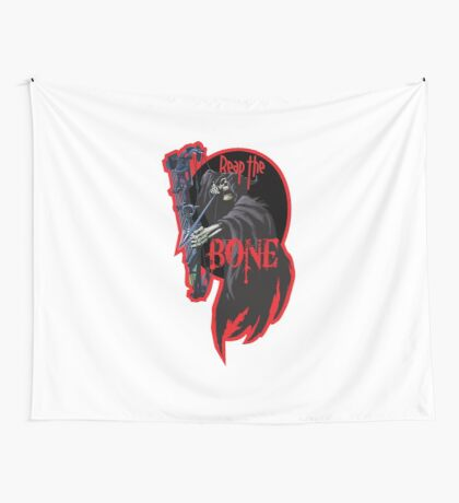 Reap the bone  - red Wall Tapestry