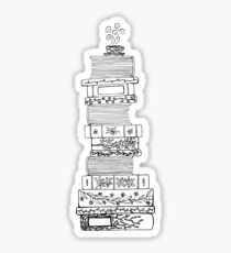 Black and White Filigree Bookstack Sticker