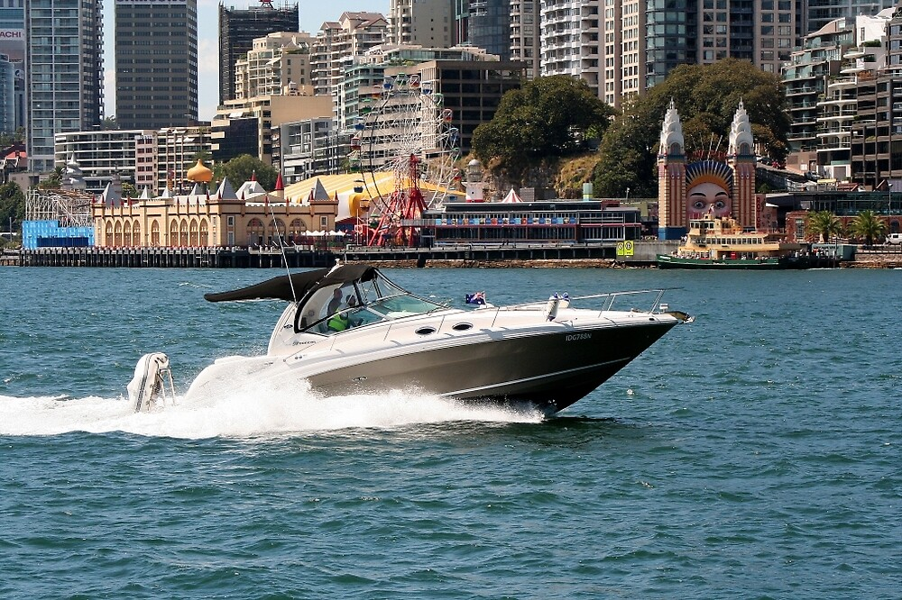Powerboat on Sydney Harbour, Australia by FranWest