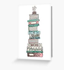 Pink and Blue Floral Bookstack Greeting Card