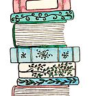 Pink and Blue Floral Bookstack by Emma Mildred Riggle