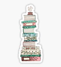 Pink and Blue Floral Bookstack Sticker