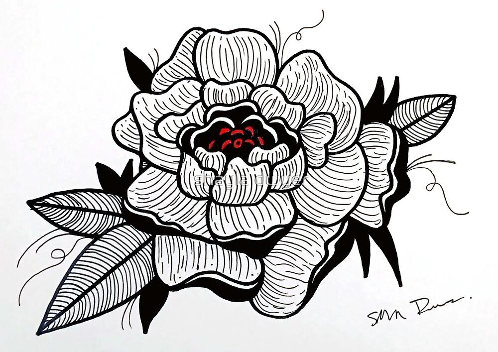Blackwork Rose by shayla dwyer