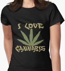 I Love Cannabis Marijuana Women's Fitted T-Shirt