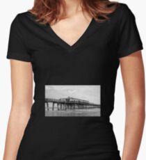 Daytona Beach Boardwalk Pier in a Black and White Photo Women's Fitted V-Neck T-Shirt