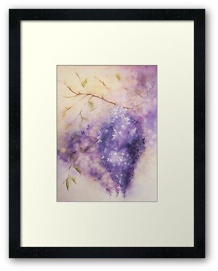 Wisteria Branch - Watercolor by teatimetomorrow