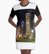 Downtown Cubs Colors Graphic T-Shirt Dress