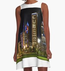 Downtown Cubs Colors A-Line Dress