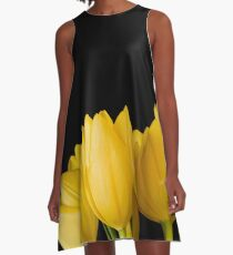 Beautiful and Big Yellow Tulip Design A-Line Dress