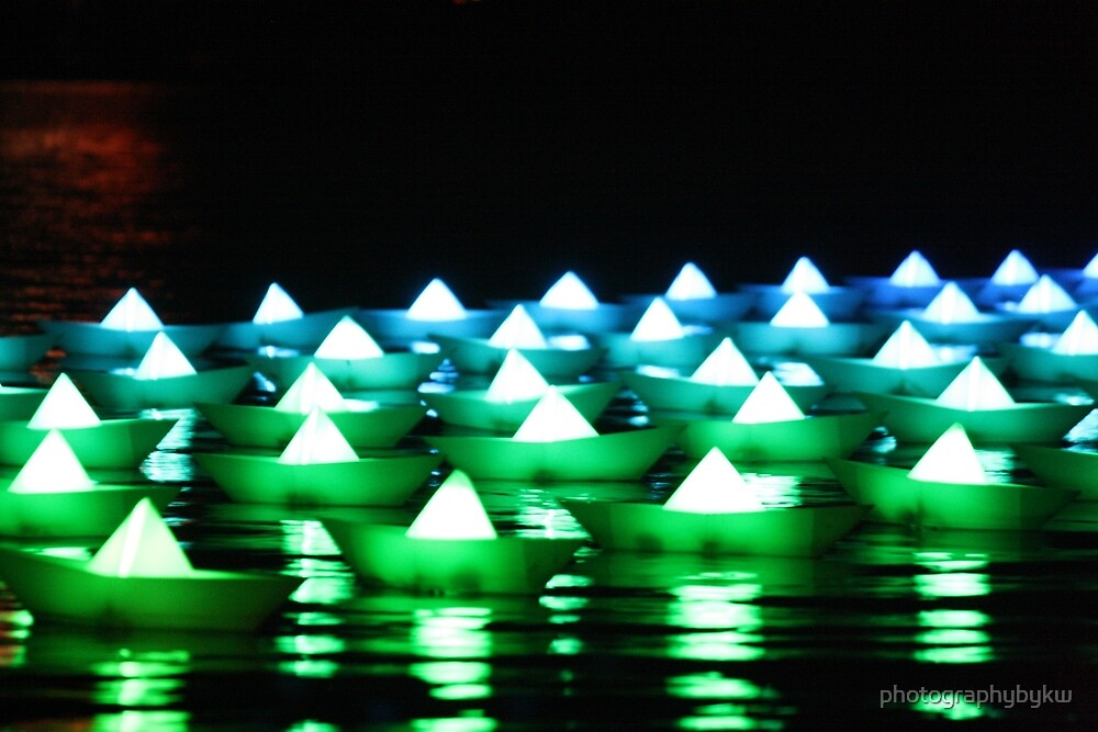 Green/Blue Paper Boats  by photographybykw
