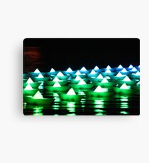Green/Blue Paper Boats  Canvas Print