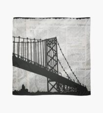 News Feed , Newspaper Bridge Collage, night cityscape cutout, black white city print illustration  Scarf