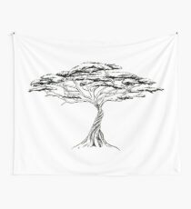 Whistling Thorn , Zen Bonsai African Tree Black and White Illustration Wall Tapestry