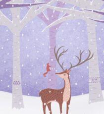 Deer - Squirrel - Winter - Snow - Forest Sticker