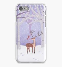 Deer - Squirrel - Winter - Snow - Forest iPhone Case/Skin