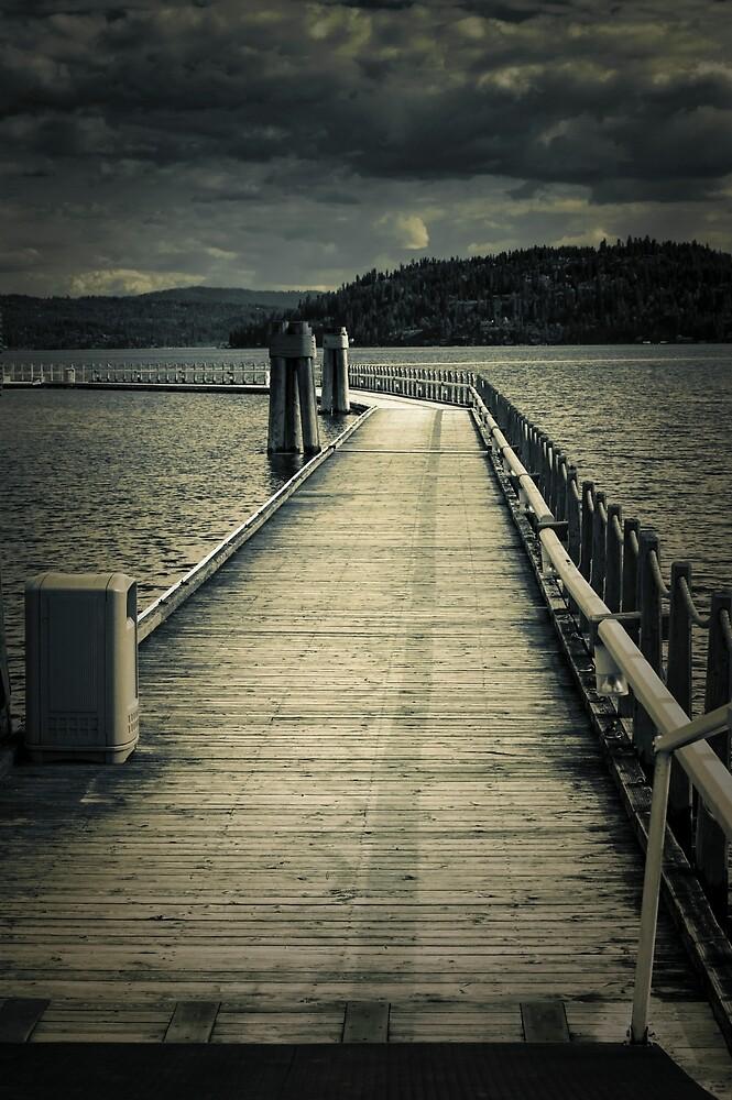 Moonlit boat dock on Coeur D' Alene Lake by Zigzagmtart
