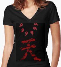 KANJI Black ( Noir ) / Red ( Rouge ) T shirt / Pull Women's Fitted V-Neck T-Shirt