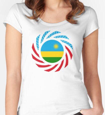 Rwandan American Multinational Patriot Flag Series Fitted Scoop T-Shirt