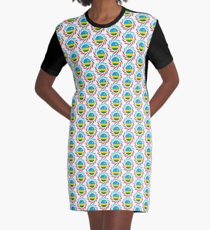 Rwandan American Multinational Patriot Flag Series Graphic T-Shirt Dress