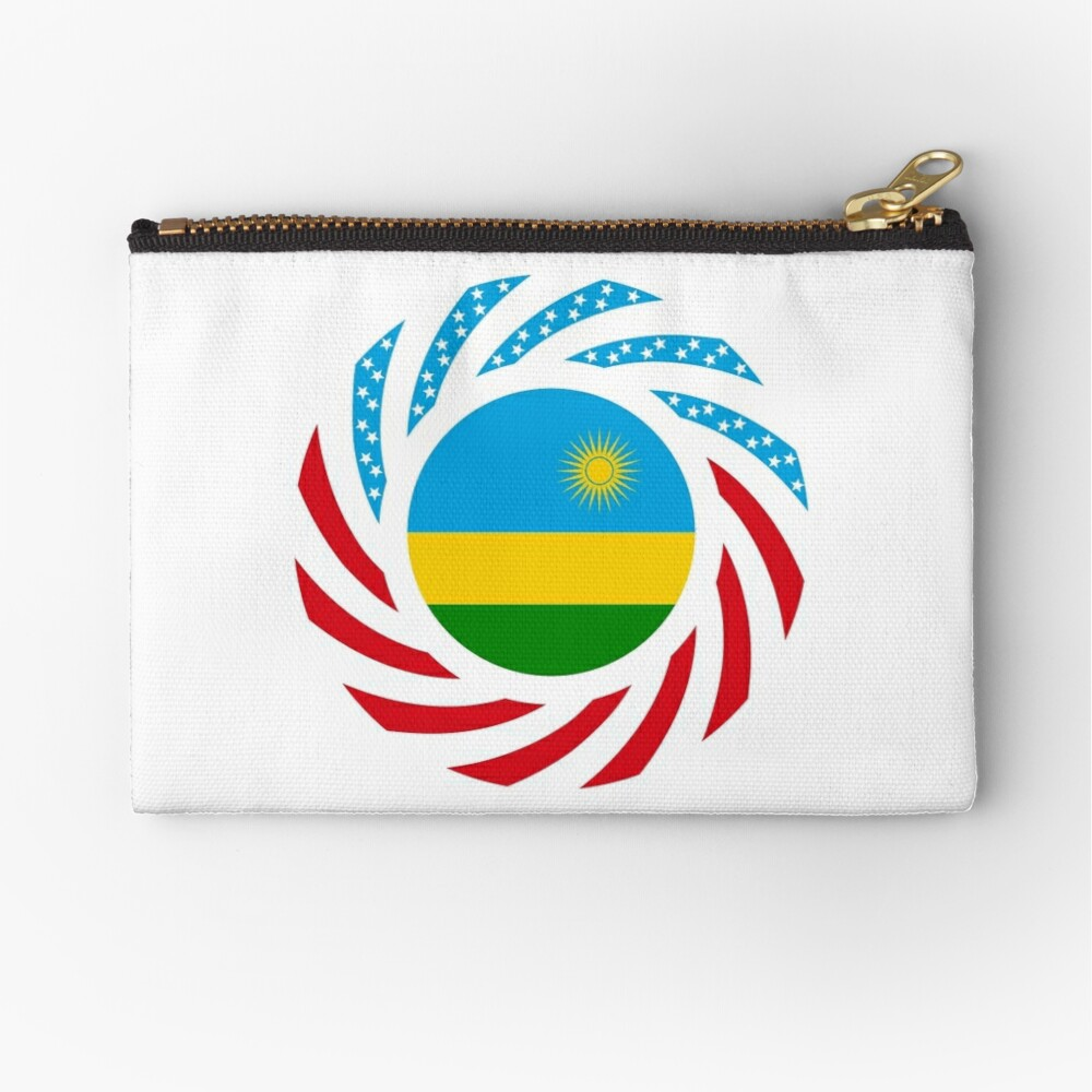 Rwandan American Multinational Patriot Flag Series Zipper Pouch