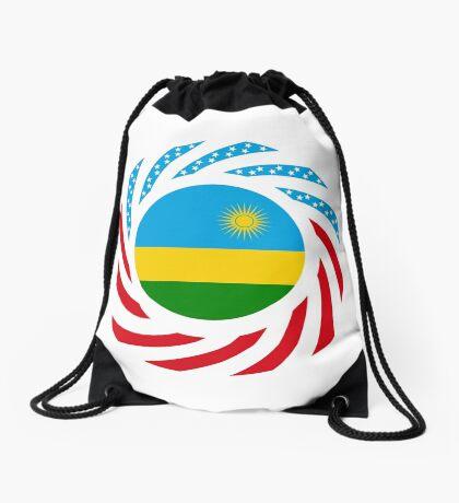 Rwandan American Multinational Patriot Flag Series Drawstring Bag