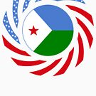 Djibouti American Multinational Patriot Flag Series by Carbon-Fibre Media