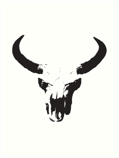 faded cow skull art prints by lukaslabrat redbubble