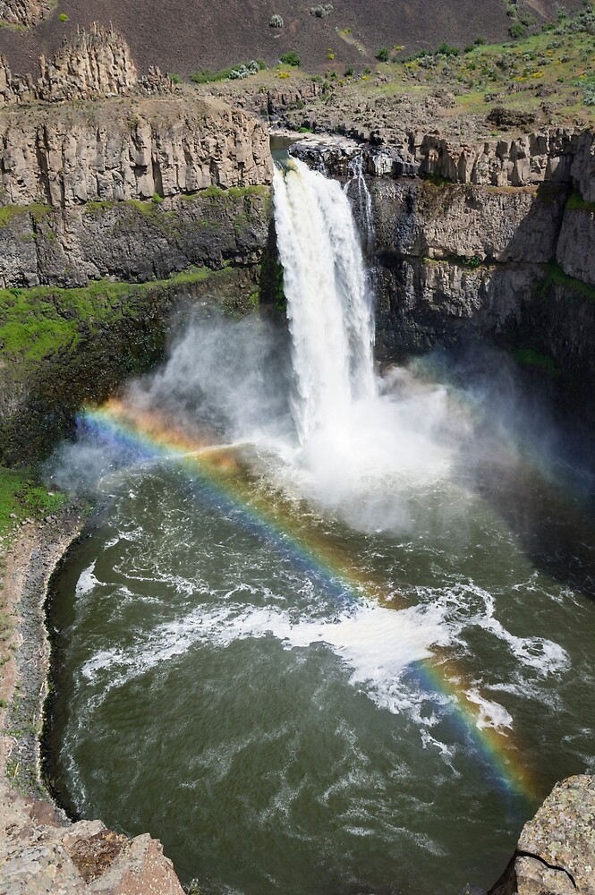 Palouse Falls and rainbow - Vertical by Zigzagmtart