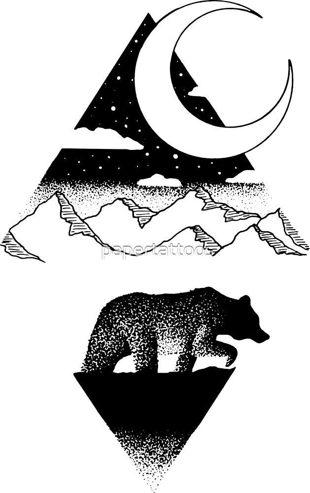 Moonlit Bear by papertattoos