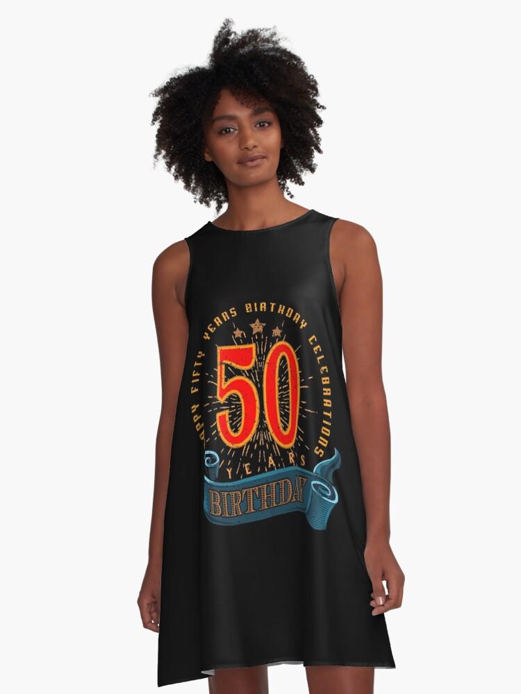 Vestidos acampanados «50a feliz cumpleaños» de rahmenlos | Redbubble
