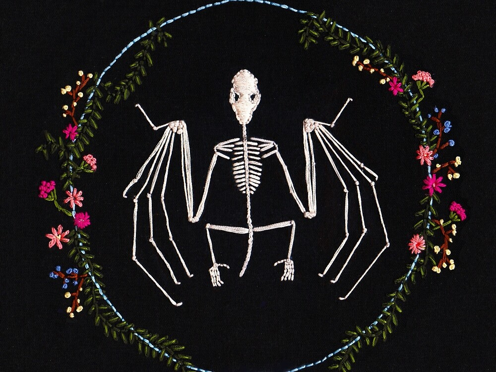 Bat Skeleton Embroidery Print by InkOperation