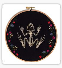 Frog Skeleton with Floral Decoration Embroidery Print Sticker