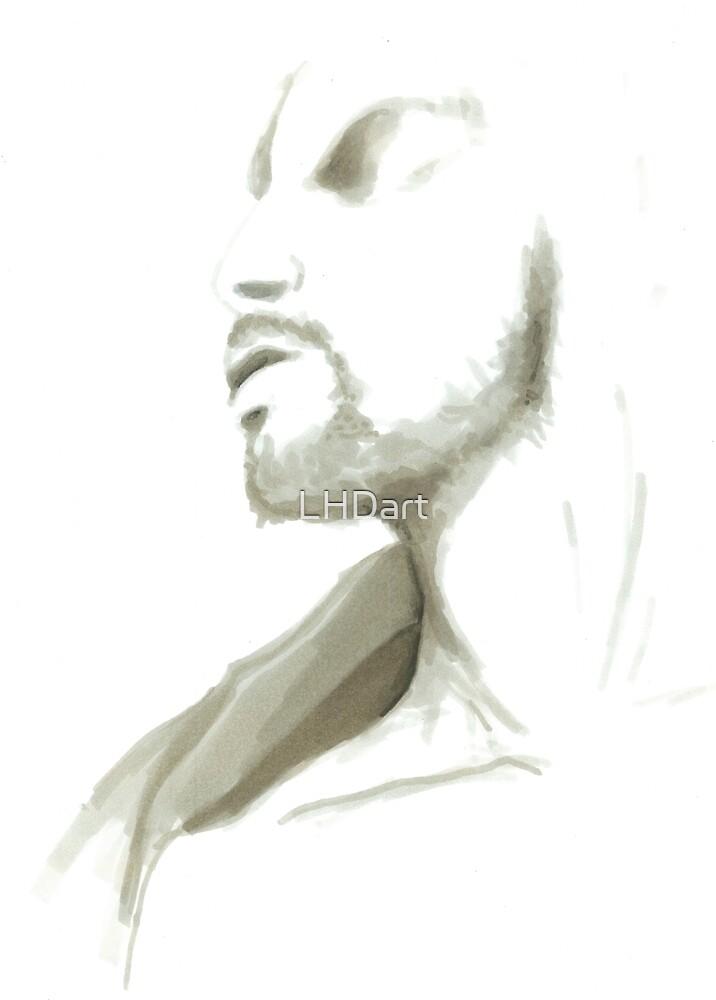 hipster bearded bartender by LHDart